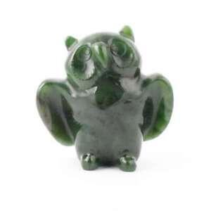 Green Genuine Natural Nephrite Jade Owl Figurine 3 inch