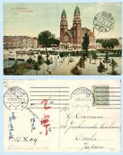Netherlands 1909 Picture Postcard Cover Rotterdam to Osaka Japan Cathedral Churc
