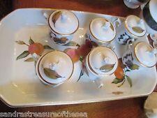 Royal Worcester Evesham Gold Pot De Creme Chocolat Set of 6 With Baker Dish Tray