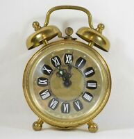Vintage K-Mart Brass Manual Wind-Up OG Alarm Clock with Glowing Accents RARE