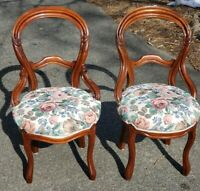 Antique Victorian Balloon-Backed Parlor Chair floral needlepoint seat