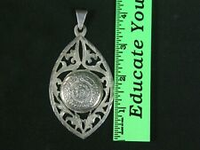 Large Taxco Mexico Sterling Silver Necklace Pendant Aztec Mayan Calendar