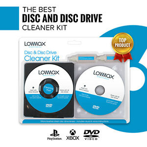 4 Piece Lowmax Laser Lens Cleaner Disc Cleaning Kit Blu Ray DVD Player CD Disc