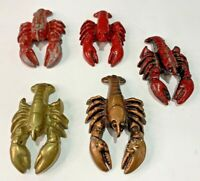 "Vintage Lot of 5 Lobster Cast Iron Bottle Opener Distressed Paint 3"" - 4"" Long"