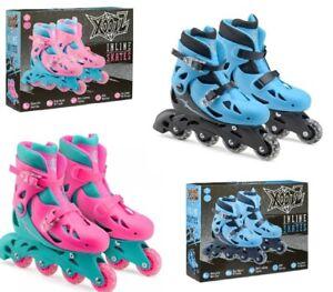 Xootz Kids Inline Skates Roller Blades Blue or Pink Boys Girls Size 9-12 or 13-3