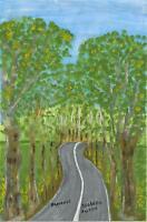 FOLK ART PRIMITIVE NAIVE TREES LANDSCAPE WINDING ROAD FLOWER PROVENANCE PAINTING