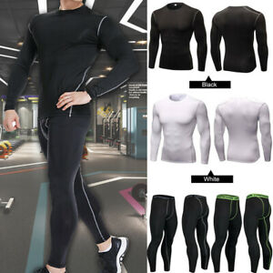 Mens Compression Base Layer Tights Shirt Gym Under Full Suit Tights Shirt Pants