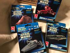 Original shipping box: 12 Nib Star Wars mini model kits Ertl Snapfast Episode 1