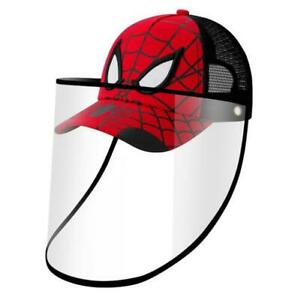 Boys Spider Safety Face Shield Protective Hat Mesh Baseball Cap Anti Spitting US