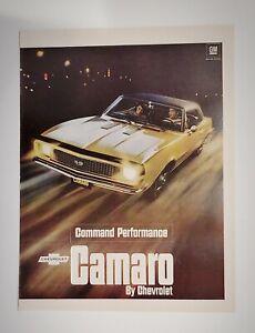 Original Vintage ad 1967 Gold Chevy Camaro Command Performance 11x14