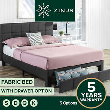 Zinus Bed Frame Gas Lift QUEEN DOUBLE KING SINGLE Base Platform Fabric Storage