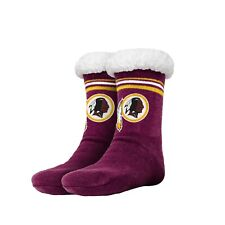 Washington Redskins Women's Stripe Logo Tall Footy Slippers Size 6-10 Non Skid