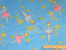 Blue Ballet Ballerina Dance Fleece Fabric by the Yard  BTY