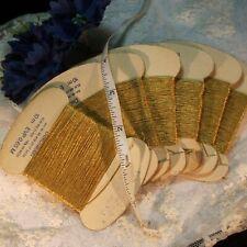 Antique Gold Metallic embroidery thread thicker 2 ply fancy yarn vtg 11 y card