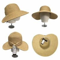 NINE WEST Womens Sun Hat Packable UPF 50+ Straw Summer Hat With Bow NEW RRP £36