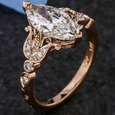 2ct Marquise Cut Diamond Floral Solitaire Engagement Ring 14k Solid Rose Gold