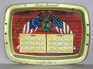"Bicentennial 14.5"" METAL TRAY Flags Independence Liberty Bell Calendar FREE SH"