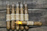 "Set of 6 - LED Burnt Ivory 6"" - 6.5"" Battery Operated TIMER Taper Candles"
