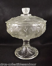 Fenton Water Lily Compote Velvet Satin Pedestal Dish Lid Art Glass Crystal