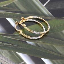 18K Yellow & White Gold Filled Hoop Earrings (E-229)