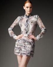 Diane von Furstenberg Honare Silk Chiffon Ruffle Mini Skirt  12 US