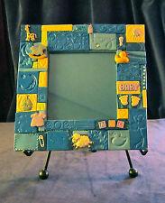 "SWEET BABY BLUE (boys) mosaic tile frame, handmade 7"" lovely, 1 of a kind"