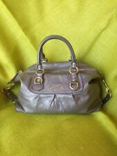 Authentic~ Coach~Ashley Leather Shoulder Hand Bag Bronze/Gray Metallic Purse