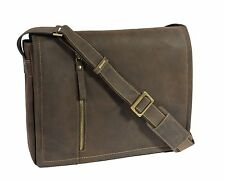 Mens Messenger BROWN Leather Bag iPad Laptop Vintage Shoulder Record MAN BAG New