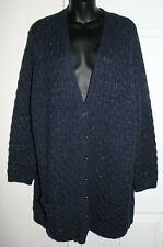 NWT Land's End 3x Navy Blue Heavy Weight Metallic Thread Cardigan Sweater