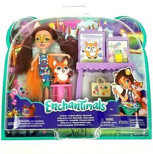 Art Studio Enchantimals Playset Felicity Fox & Flick Toy Doll Figures