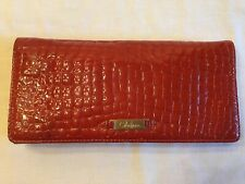 Authentic Cole Haan Large Spicy Orange Patent Croco Leather Clutch Purse