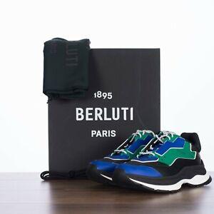 BERLUTI 1070$ Gravity Leather Low Top Sneaker In Black, Green & Blue