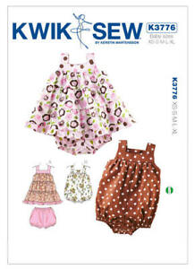 Kwik Sew Sewing Pattern 3776 Babies Toddlers XS-XL Romper Ruffled Dress Bloomers