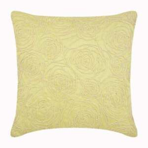 Throw Pillow Cover 16x16 inch Decorative Yellow Silk, Roses - Rosy Yellow
