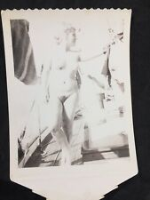 Vtg 50's Polaroid Snapshot Beautiful Unshaven Blonde Risque Nude Sailing Boat
