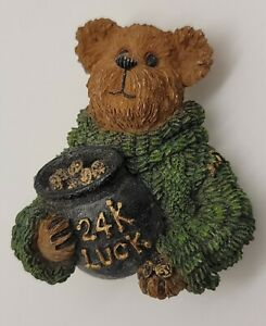 Boyds Bear 24k luck pot of gold St Patrick's Day lucky bear in green sweater pin