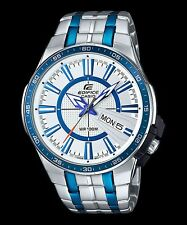 EFR-106BB-7A Blue White Casio Edifice Men's Watch Stainless Band Analog New-Band