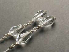 925 sterling silver earring hooks Art Deco style vintage glass crystal