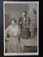 Mabel Norma & Chester Conklin A BIRD'S A BIRD Keystone Photocard c1915