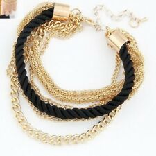 Satin Twist Black Braided Cord Gold Chain Bracelet
