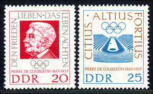 Germany DDR/GDR 635-636,Mint.Baron de Coubertin,organizer of Olympic Games,1963