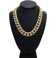 """Iced Out 18"""" Choker Miami Cuban Link Chain Micro Pave Prong Set Necklace Gold"""