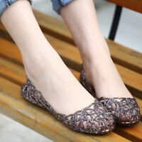 Women Glitter Crystal Flat Sandals Plastic Jelly Hollow Out Ballet Beach Shoes
