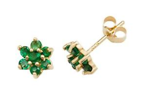 Green Emerald Cluster Stud Earrings - 9ct Yellow Gold 4.5mm Real Emerald Studs