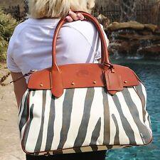 EUC Dooney&Bourke XL Leather Canvas Weekender Travel Zebra Satchel Shoulder Bag