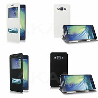 PU Leather Book Wallet Dual Window Case Cover For Samsung Galaxy A5 2015 A500F