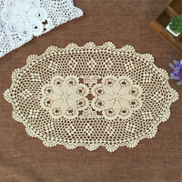 Oval Vintage Hand Crochet Lace Doily Cotton Table Mat Floral Pattern 15x23inch