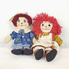 "Vintage Raggedy Ann and Andy Cloth Rag Dolls Handmade 14"" Primitive"