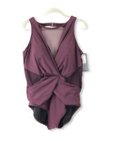 Aqua Green NWT Women's Plus Size 22W One Piece Bathing Suit Swimsuit Burgundy