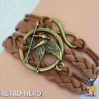 Tribute von Panem Armband Spottölpel Bronze Katniss Everdeen Leder geflochten